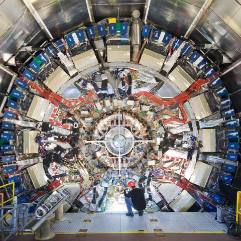 Large circular detector framework at the Large Hadron Collider with worker in foreground