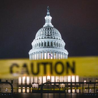 Caution tape in front of Capitol
