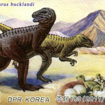 2011 North Korean stamp of Megalosaurus, a carnivorous Jurassic theropod