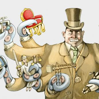 Cartoon of businessman using tentacles to hold various objects