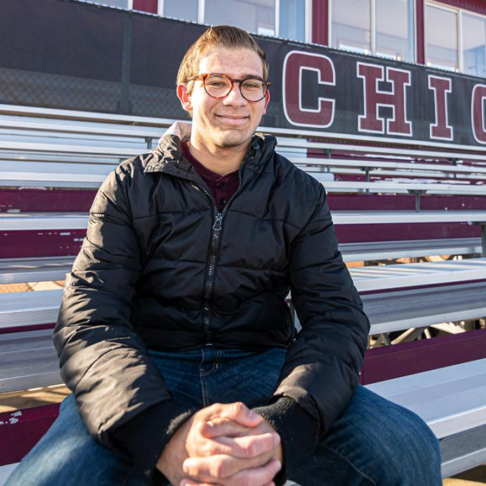 UChicago student Jon Zaghloul, a broadcaster and podcast host, at Stagg Field