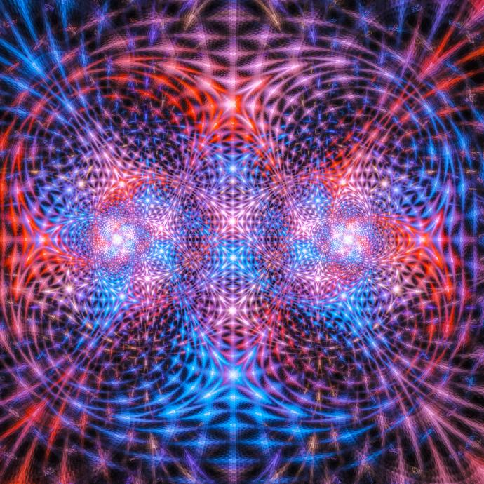 Colorful fractal image depicting quantum entanglement